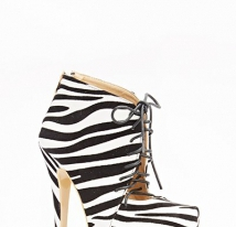 High Zebra Print Lace Up Boots
